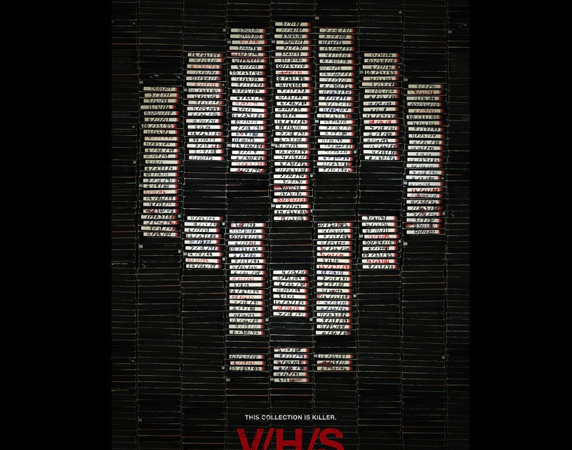 V/H/S Movie Poster - Hired to steal a rare VHS tape from a secluded house, a group of petty crooks breaks in and discovers a corpse surrounded by TVs and stacks of tapes. Now they must watch each horrific and bizarre video as they search for the correct one