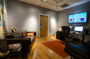 Inside Color and Online Edit Suite 2 - Moonshine Studios on the Beltline, or Beltline Studios has in addition to its Sound Stage, a Producer's Room, Green Room, Private Entrance, Gated and Secure Parking, Private Bathrooms, Showers, and Cantina for Catering Space