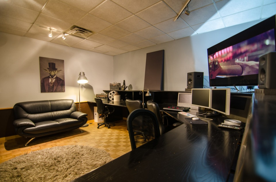 Color One, the largest of five editorial suites available to rent at Moonshine Post, contains a Mac Pro with a tri-monitor setup for color correction and is furnished with two couches and a coffee table for any sized production.