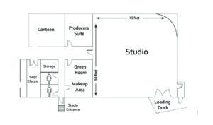 Blue Print of Moonshine's fully equipped 2200sq foot sound stage in Atlanta - contains a fully loaded grip and elected package with a start-to-finish production space - includes Green Room (for make-up and wardrobe), producer's suite, canteen, secured wardrobe storage area, and two private bathrooms.