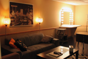 Photo of the Green Room - Moonshine's fully equipped 2200sq foot sound stage in Atlanta includes Green Room (for make-up and wardrobe), producer's suite, canteen, secured wardrobe storage area, and two private bathrooms.