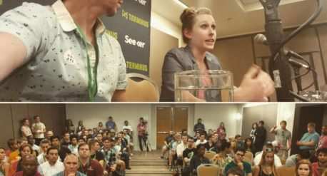 Photos from Terminus Atlanta Conference with Drew Sawyer, post producer, and Emily Denker, Marvel VFX editor, speaking on two Post Production panels