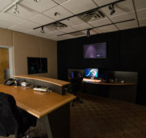 Shot of inside Color Room 3 and Dailies Viewing Lounge at Moonshine Post Production in Atlanta Georgia. Color correction DI by Senior Colorist John Petersen.