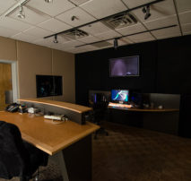 Inside Color Room 3 and Dailies Viewing Lounge at Moonshine Post Production in Atlanta Georgia. Color correction DI by Senior Colorist John Petersen.