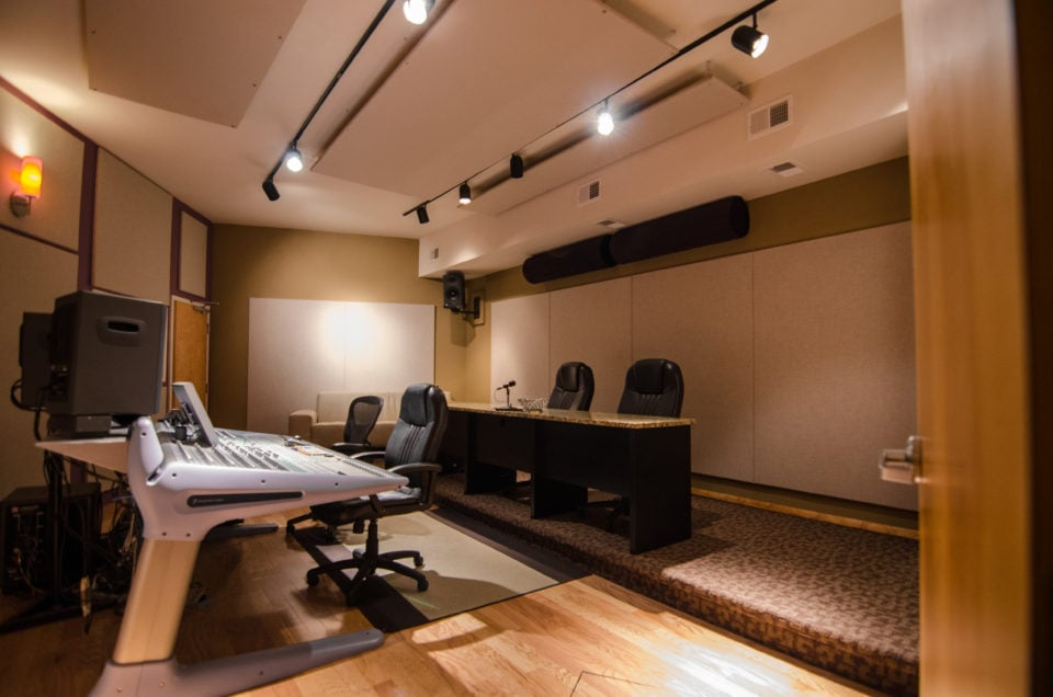 This is our main 5.1 Audio Studio A with VO Booth and ready for feature and television sound sweeting, mixing, ADR, recording, and master. Both Studio A and B are essential to the finishing process in post production.
