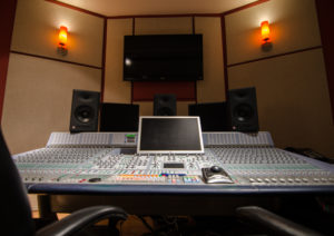 Shot of inside Studio A Console Studio A Console Mix Stage for Audio Services at Moonshine Post Production in Atlanta Georgia capable of surround sound 5.1 and stereo mixing and mastering plus ADR and screening