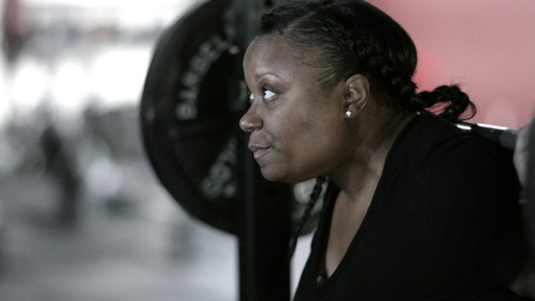 Shot of athlete lifting weights from 'When I Play' - ESPNW Spot, color correction DI by John Petersen and sound mix by John St. Denis at Moonshine Post Production in Atlanta Georgia